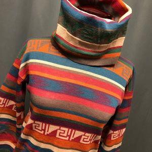 Vintage sweater 80s 90s retro Aztec turtleneck